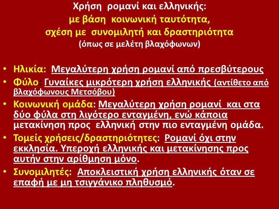 Χρήση ρομανί και ελληνικής: με βάση κοινωνική ταυτότητα, σχέση με συνομιλητή και δραστηριότητα (όπως σε μελέτη βλαχόφωνων) Ηλικία: Μεγαλύτερη χρήση ρο