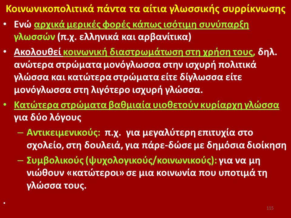 Κοινωνικοπολιτικά πάντα τα αίτια γλωσσικής συρρίκνωσης Ενώ αρχικά μερικές φορές κάπως ισότιμη συνύπαρξη γλωσσών (π.χ. ελληνικά και αρβανίτικα) Ακολουθ