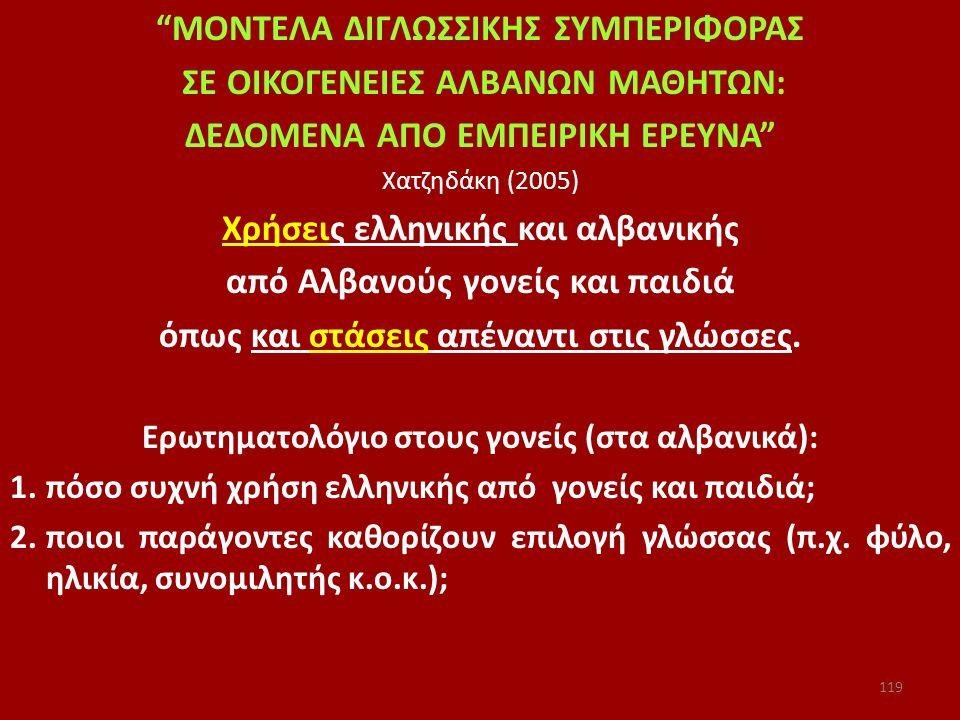 """""""ΜΟΝΤΕΛΑ ΔΙΓΛΩΣΣΙΚΗΣ ΣΥΜΠΕΡΙΦΟΡΑΣ ΣΕ ΟΙΚΟΓΕΝΕΙΕΣ ΑΛΒΑΝΩΝ ΜΑΘΗΤΩΝ: ΔΕΔΟΜΕΝΑ ΑΠΟ ΕΜΠΕΙΡΙΚΗ ΕΡΕΥΝΑ"""" Χατζηδάκη (2005) Χρήσεις ελληνικής και αλβανικής από"""