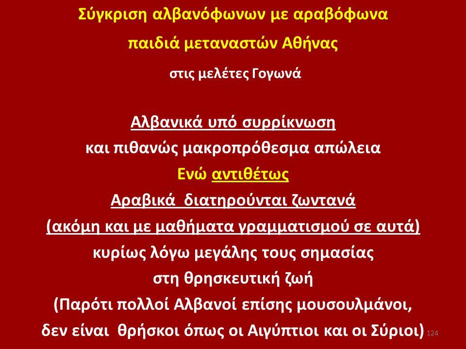 Σύγκριση αλβανόφωνων με αραβόφωνα παιδιά μεταναστών Αθήνας στις μελέτες Γογωνά Aλβανικά υπό συρρίκνωση και πιθανώς μακροπρόθεσμα απώλεια Ενώ αντιθέτως