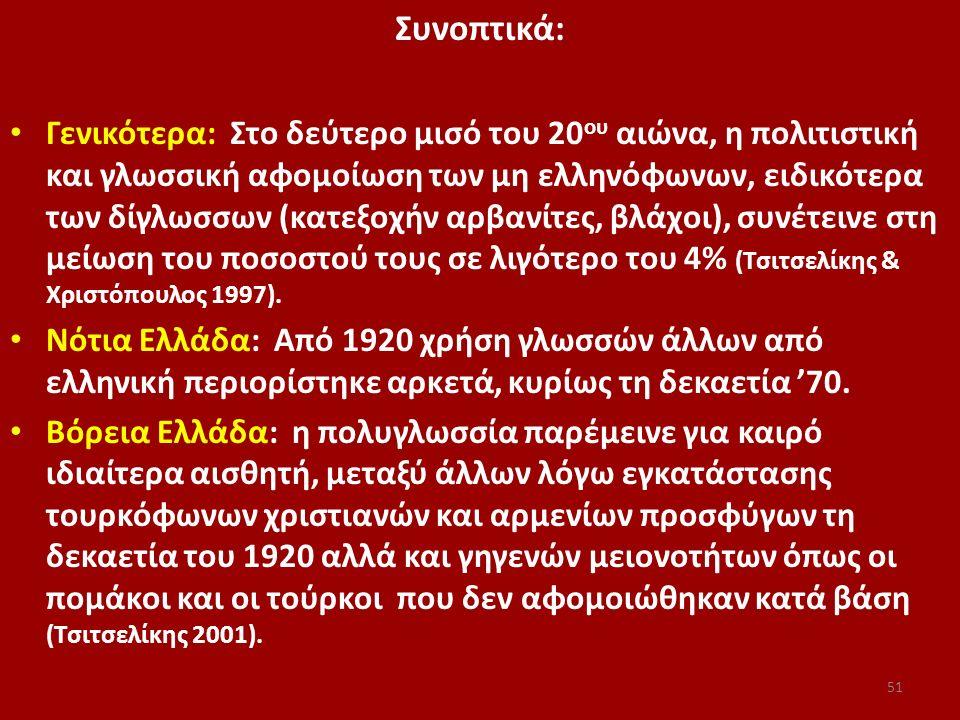 Συνοπτικά: Γενικότερα: Στο δεύτερο μισό του 20 ου αιώνα, η πολιτιστική και γλωσσική αφομοίωση των μη ελληνόφωνων, ειδικότερα των δίγλωσσων (κατεξοχήν