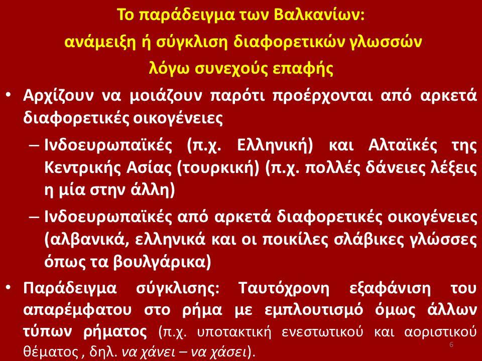 Το παράδειγμα των Βαλκανίων: ανάμειξη ή σύγκλιση διαφορετικών γλωσσών λόγω συνεχούς επαφής Αρχίζουν να μοιάζουν παρότι προέρχονται από αρκετά διαφορετ