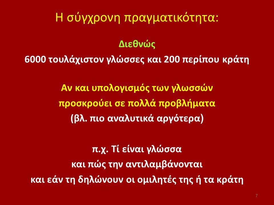 Γλωσσική μετατόπιση ή μετακίνηση ή συρρίκνωση ή υποχώρηση: 'Οταν μια κοινότητα ομιλητών εγκαταλείπει σταδιακά μία γλώσσα για μια άλλη Μελέτες στην ελληνική κοινωνία για: αρβανιτόφωνους, σλαβόφωνους, βλαχόφωνους κυρίως Και κλασικές διεθνείς έρευνες: Gal 1979: ουγγαρόφωνη κοινότητα στην Αυστρία Dorian 1981: γαελόφωνη κοινότητα Σκωτίας Ποικίλα παραδείγματα με ποικίλες διαβαθμίσεις μετακίνησης 108
