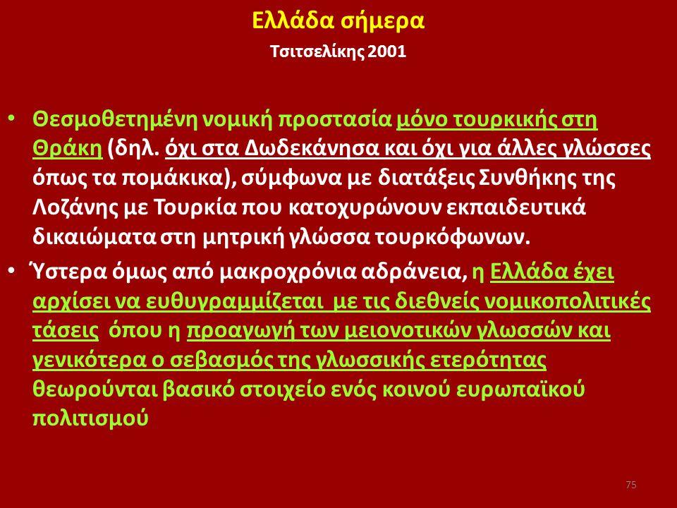 Ελλάδα σήμερα Τσιτσελίκης 2001 Θεσμοθετημένη νομική προστασία μόνο τουρκικής στη Θράκη (δηλ. όχι στα Δωδεκάνησα και όχι για άλλες γλώσσες όπως τα πομά