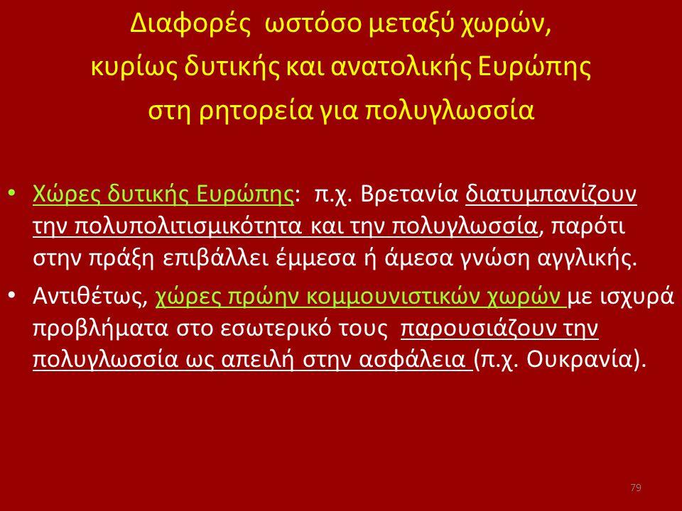 Διαφορές ωστόσο μεταξύ χωρών, κυρίως δυτικής και ανατολικής Ευρώπης στη ρητορεία για πολυγλωσσία Χώρες δυτικής Ευρώπης: π.χ. Βρετανία διατυμπανίζουν τ