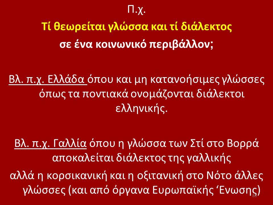 Π.χ. Τί θεωρείται γλώσσα και τί διάλεκτος σε ένα κοινωνικό περιβάλλον ; Βλ. π.χ. Ελλάδα όπου και μη κατανοήσιμες γλώσσες όπως τα ποντιακά ονομάζονται
