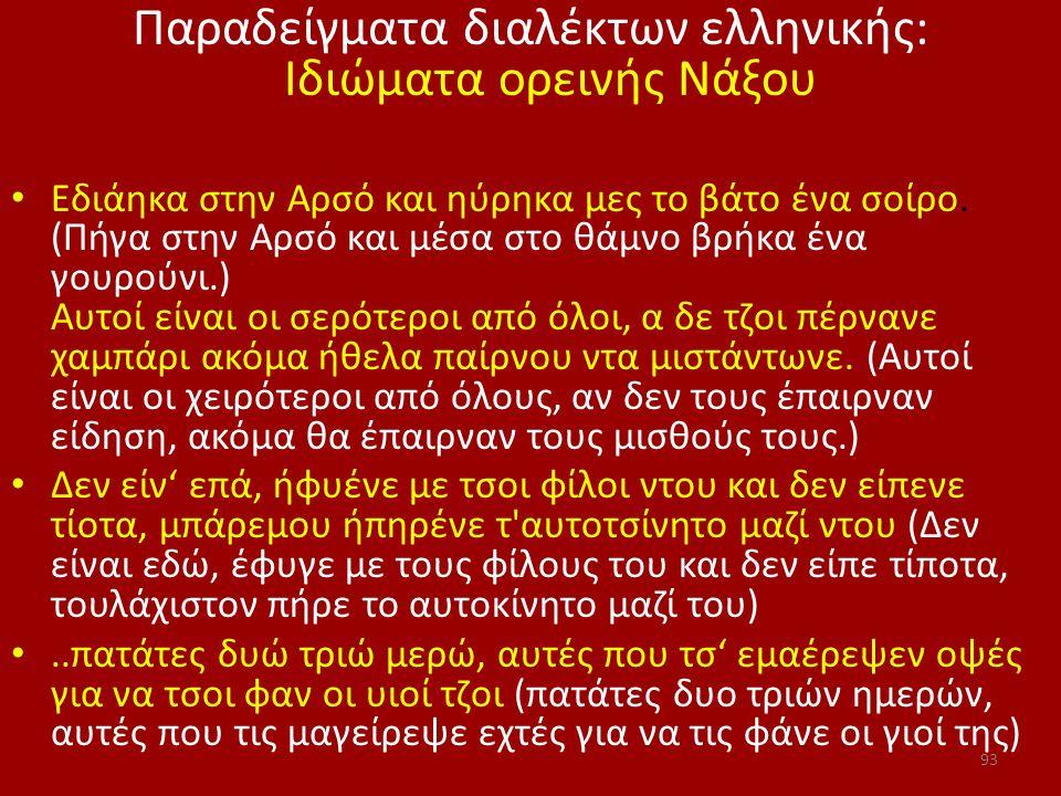 Παραδείγματα διαλέκτων ελληνικής: Ιδιώματα ορεινής Νάξου Εδιάηκα στην Αρσό και ηύρηκα μες το βάτο ένα σοίρο. (Πήγα στην Αρσό και μέσα στο θάμνο βρήκα