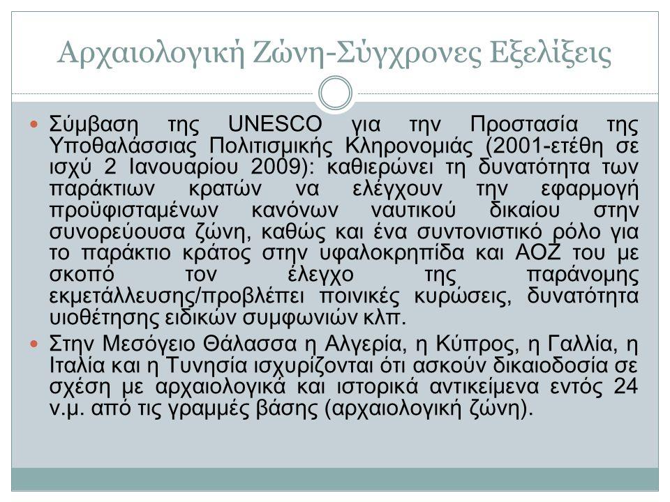 Αρχαιολογική Ζώνη-Σύγχρονες Εξελίξεις Σύμβαση της UNESCO για την Προστασία της Υποθαλάσσιας Πολιτισμικής Κληρονομιάς (2001-ετέθη σε ισχύ 2 Ιανουαρίου