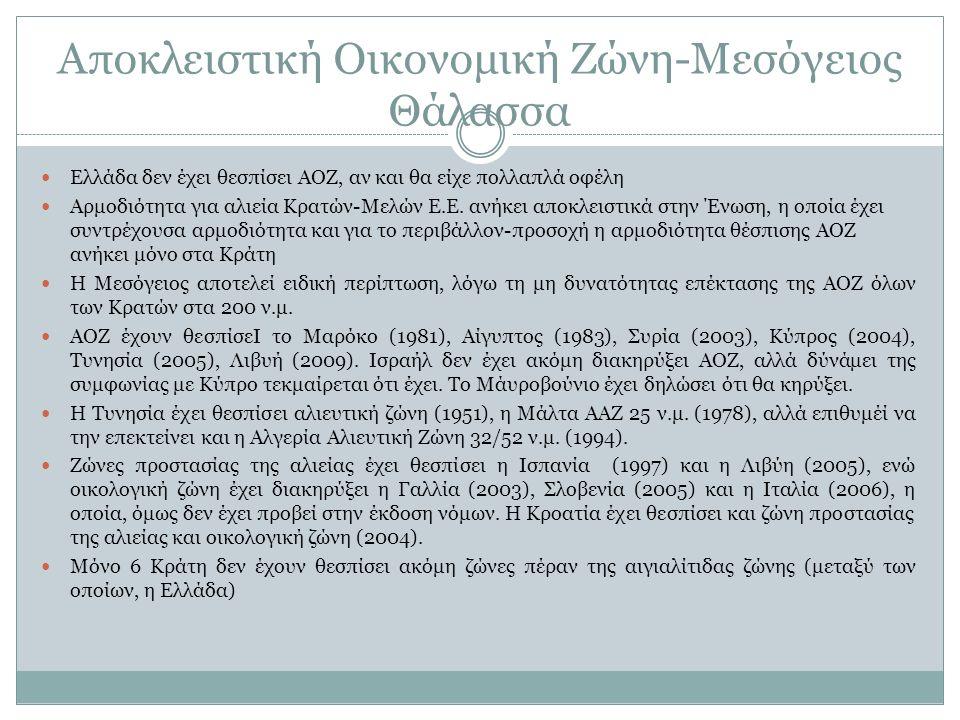 Αποκλειστική Οικονομική Ζώνη-Μεσόγειος Θάλασσα Ελλάδα δεν έχει θεσπίσει ΑΟΖ, αν και θα είχε πολλαπλά οφέλη Αρμοδιότητα για αλιεία Κρατών-Μελών Ε.Ε. αν