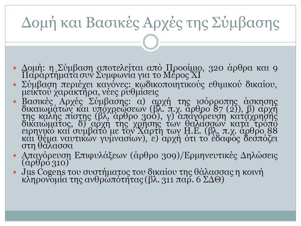 Δομή και Βασικές Αρχές της Σύμβασης Δομή: η Σύμβαση αποτελείται από Προοίμιο, 320 άρθρα και 9 Παραρτήματα συν Συμφωνία για το Μέρος XI Σύμβαση περιέχε