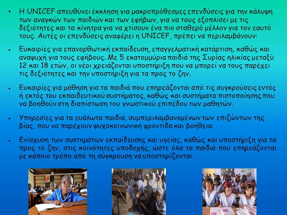 Η UNICEF απευθύνει έκκληση για μακροπρόθεσμες επενδύσεις για την κάλυψη των αναγκών των παιδιών και των εφήβων, για να τους εξοπλίσει με τις δεξιότητε