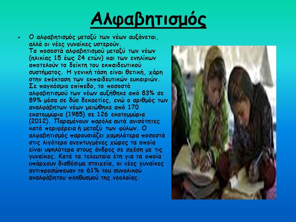 Αλφαβητισμός  Ο αλφαβητισμός μεταξύ των νέων αυξάνεται, αλλά οι νέες γυναίκες υστερούν. Τα ποσοστά αλφαβητισμού μεταξύ των νέων (ηλικίας 15 έως 24 ετ