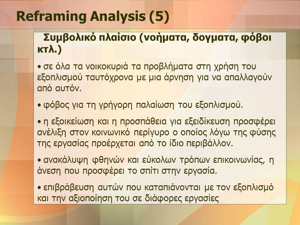 Reframing Analysis (5) Συμβολικό πλαίσιο (νοήματα, δογματα, φόβοι κτλ.) σε όλα τα νοικοκυριά τα προβλήματα στη χρήση του εξοπλισμού ταυτόχρονα με μια άρνηση για να απαλλαγούν από αυτόν.