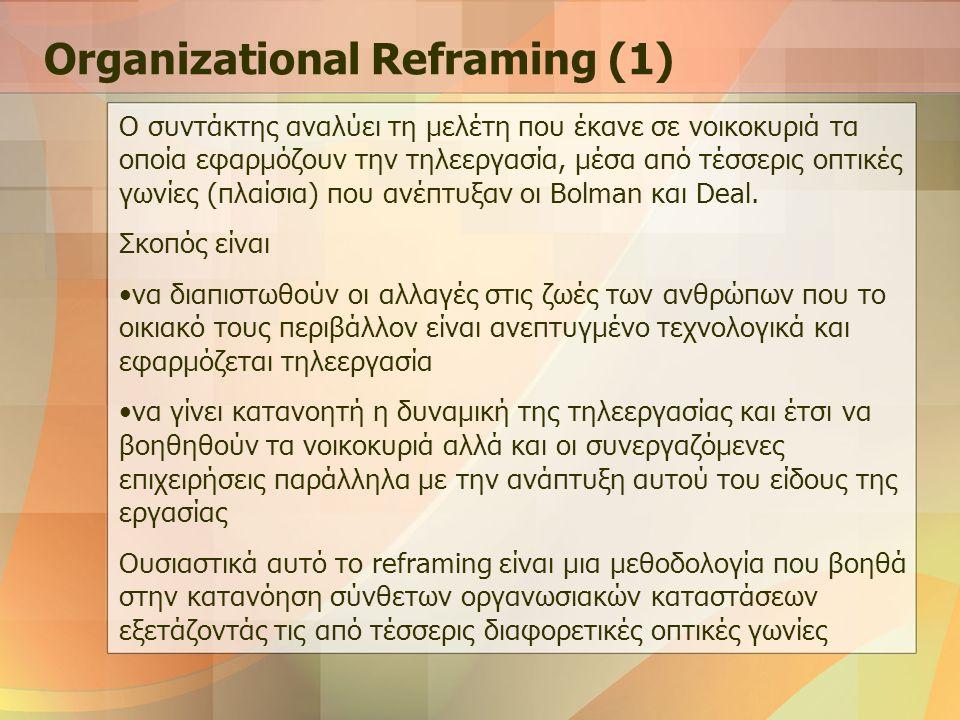Οπτικές Γωνίες Οι Bolman και Deal κατέληξαν ότι αυτές οι οπτικές γωνίες είναι: Οι ρόλοι και οι διαδικασίες του δομικού πλαισίου Το ανθρωποκεντρικό πλαίσιο των ανθρώπινων πόρων Το κυριαρχούμενο από συγκρούσεις ανταγωνιστικό πλαίσιο πολιτικής Τα παραγόμενα νοήματα του συμβολικού πλαισίου Organizational Reframing (2)