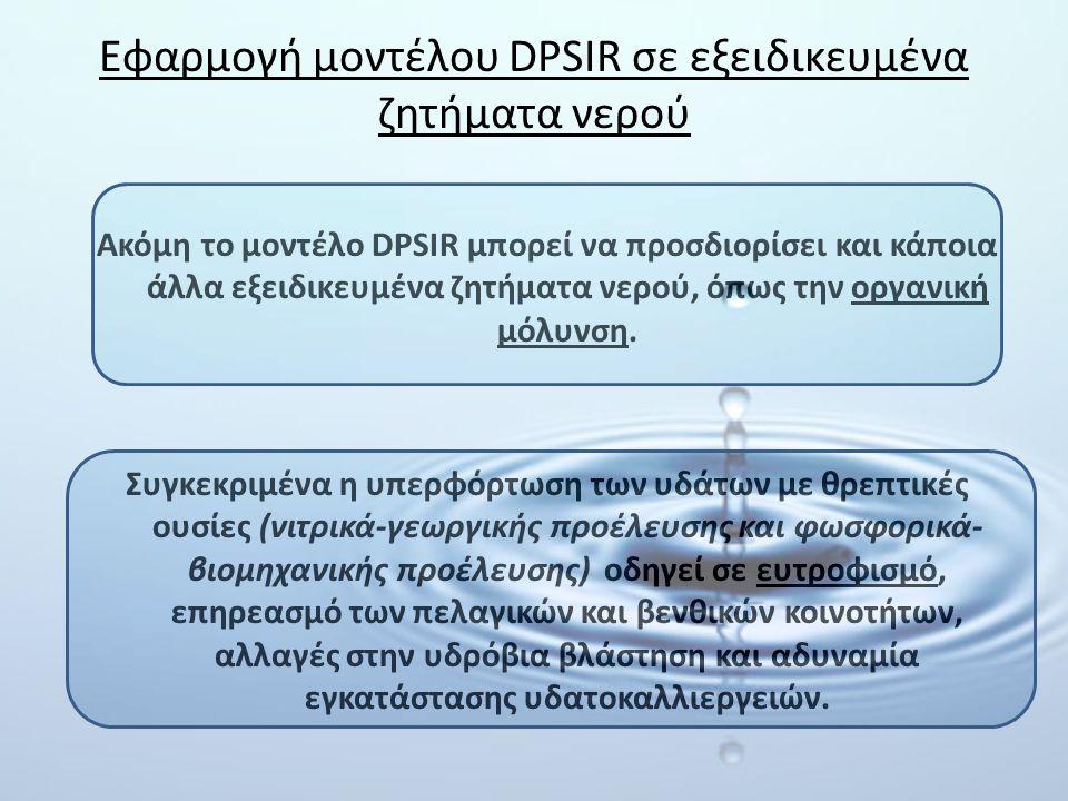Εφαρμογή μοντέλου DPSIR σε εξειδικευμένα ζητήματα νερού Ακόμη το μοντέλο DPSIR μπορεί να προσδιορίσει και κάποια άλλα εξειδικευμένα ζητήματα νερού, όπ