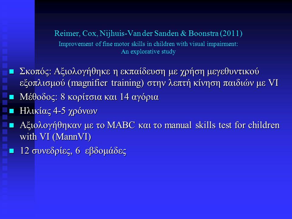 n Σκοπός: Αξιολογήθηκε η εκπαίδευση με χρήση μεγεθυντικού εξοπλισμού (magnifier training) στην λεπτή κίνηση παιδιών με VI n Μέθοδος: 8 κορίτσια και 14 αγόρια n Ηλικίας 4-5 χρόνων n Αξιολογήθηκαν με το MABC και το manual skills test for children with VI (MannVI) n 12 συνεδρίες, 6 εβδομάδες Reimer, Cox, Nijhuis-Van der Sanden & Boonstra (2011) Improvement of fine motor skills in children with visual impairment: An explorative study