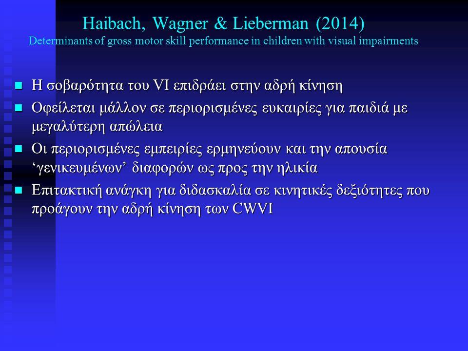 Hallemans, Ortibus, Truijen & Meire (2011) Development of independent locomotion in children with a severe visual impairment n Σκοπός: Μετακίνηση παιδιών και ενηλίκων με VI (ηλικίες 1-44 χρόνων, Ν = 28) n Σύγκριση με συνομήλικους χωρίς VI n Μέθοδος: Βάδιση με γυμνά πόδια n Ανάλυση βάδισης (Vicon system) n Αξιολογήθηκε: ταχύτητα, συχνότητα βάδισης, μήκος διασκελισμού, διάρκεια διπλής στήριξης, κοκ (walking speed, heading angle, step frequency, stride length, step width, stance phase duration, double support time, etc)