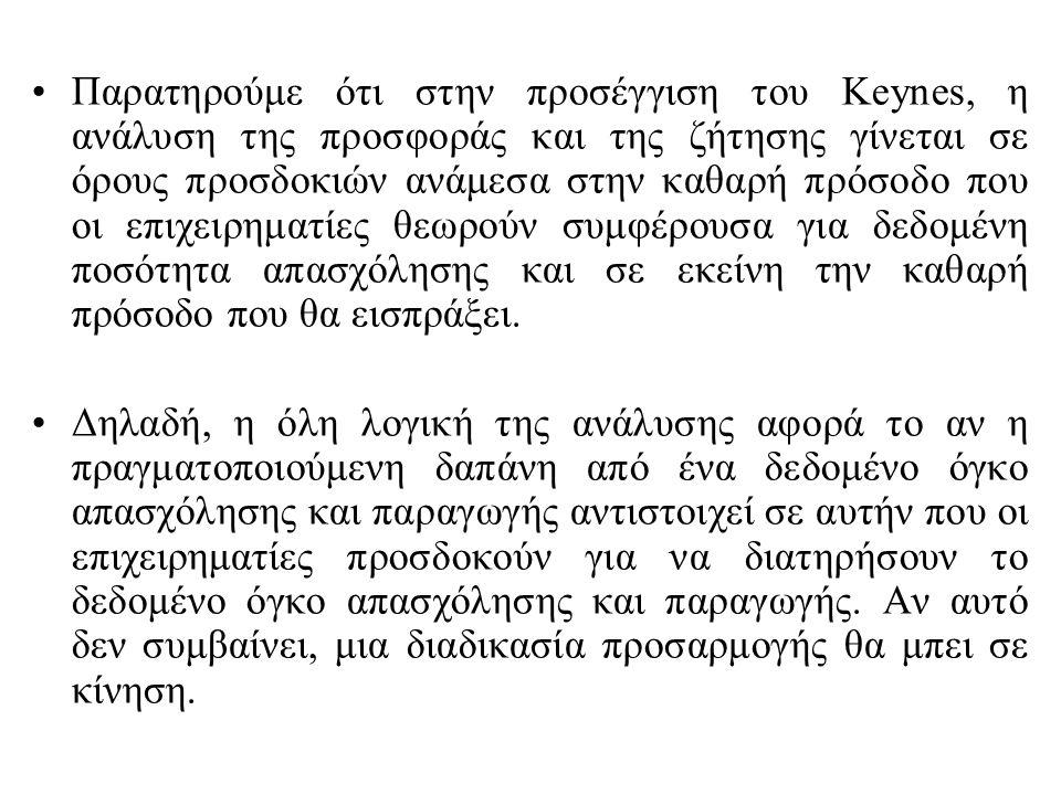 Παρατηρούμε ότι στην προσέγγιση του Keynes, η ανάλυση της προσφοράς και της ζήτησης γίνεται σε όρους προσδοκιών ανάμεσα στην καθαρή πρόσοδο που οι επι