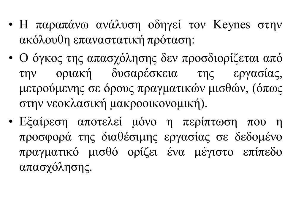 Η παραπάνω ανάλυση οδηγεί τον Keynes στην ακόλουθη επαναστατική πρόταση: Ο όγκος της απασχόλησης δεν προσδιορίζεται από την οριακή δυσαρέσκεια της εργ