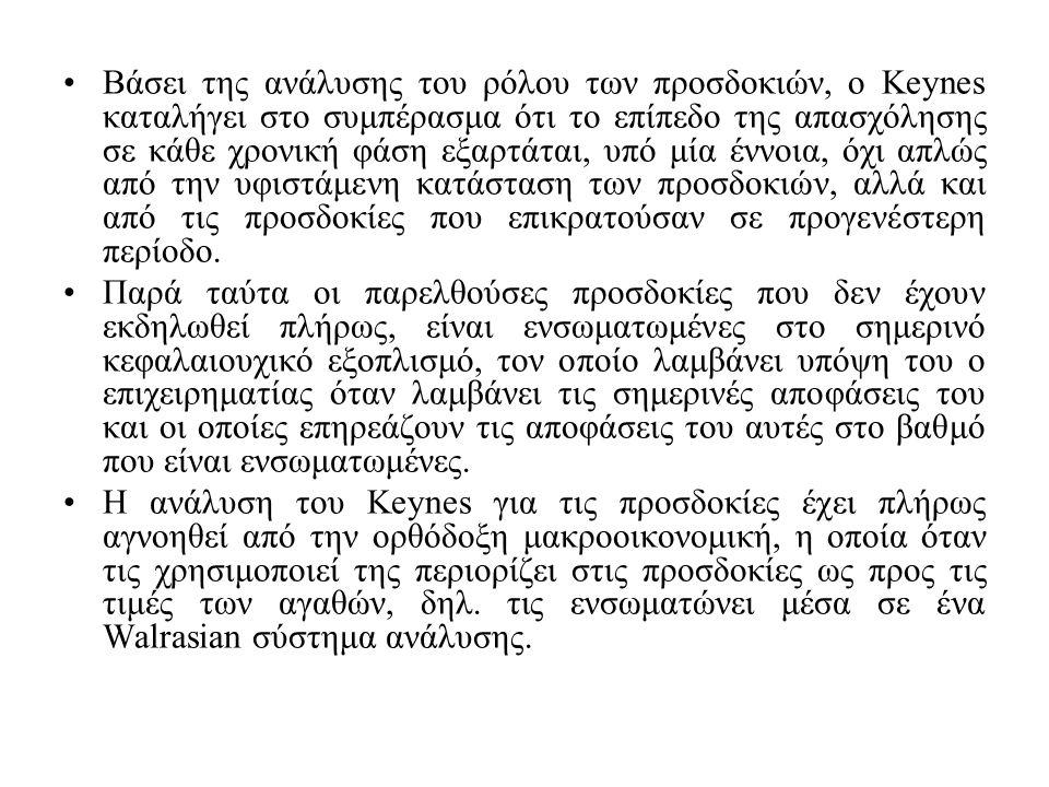 Βάσει της ανάλυσης του ρόλου των προσδοκιών, ο Keynes καταλήγει στο συμπέρασμα ότι το επίπεδο της απασχόλησης σε κάθε χρονική φάση εξαρτάται, υπό μία