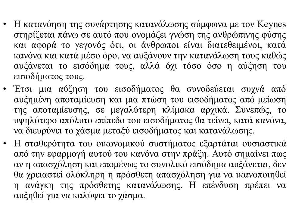 Η κατανόηση της συνάρτησης κατανάλωσης σύμφωνα με τον Keynes στηρίζεται πάνω σε αυτό που ονομάζει γνώση της ανθρώπινης φύσης και αφορά το γεγονός ότι,