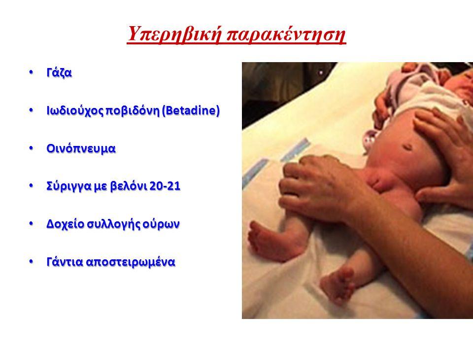 Υπερηβική παρακέντηση Γάζα Γάζα Ιωδιούχος ποβιδόνη (Betadine) Ιωδιούχος ποβιδόνη (Betadine) Οινόπνευμα Οινόπνευμα Σύριγγα με βελόνι 20-21 Σύριγγα με β