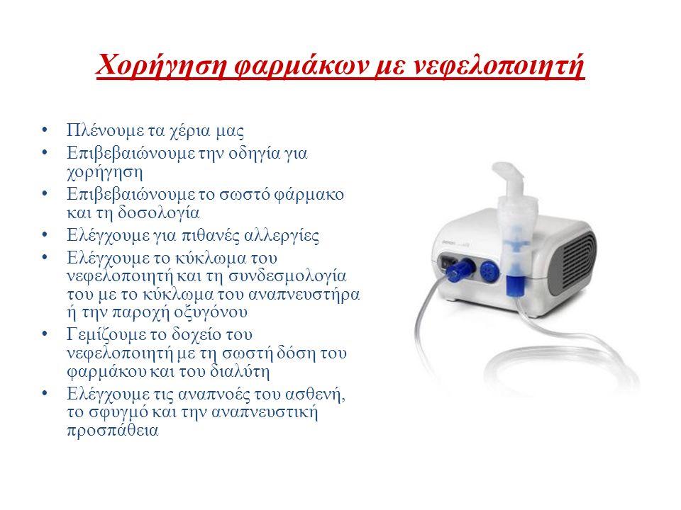 Χορήγηση φαρμάκων με νεφελοποιητή Πλένουμε τα χέρια μας Επιβεβαιώνουμε την οδηγία για χορήγηση Επιβεβαιώνουμε το σωστό φάρμακο και τη δοσολογία Ελέγχο