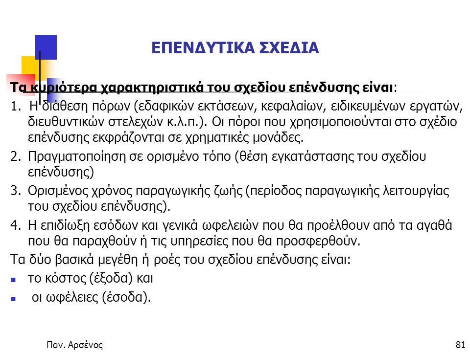Παν.Αρσένος81 ΕΠΕΝΔΥΤΙΚΑ ΣΧΕΔΙΑ Τα κυριότερα χαρακτηριστικά του σχεδίου επένδυσης είναι: 1.