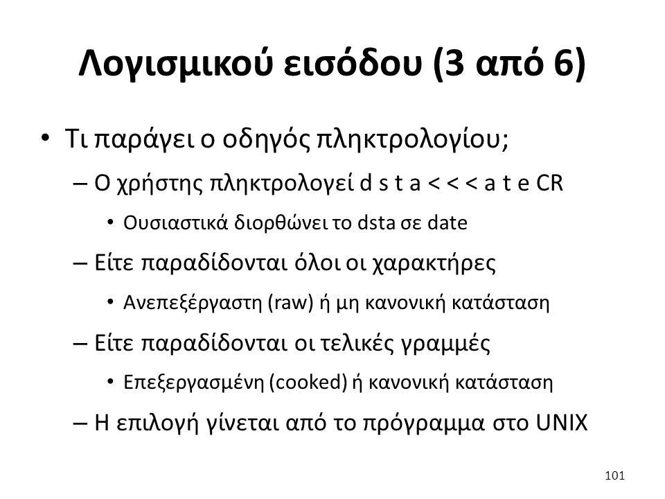 Λογισμικού εισόδου (3 από 6) Τι παράγει ο οδηγός πληκτρολογίου; – Ο χρήστης πληκτρολογεί d s t a < < < a t e CR Ουσιαστικά διορθώνει το dsta σε date –
