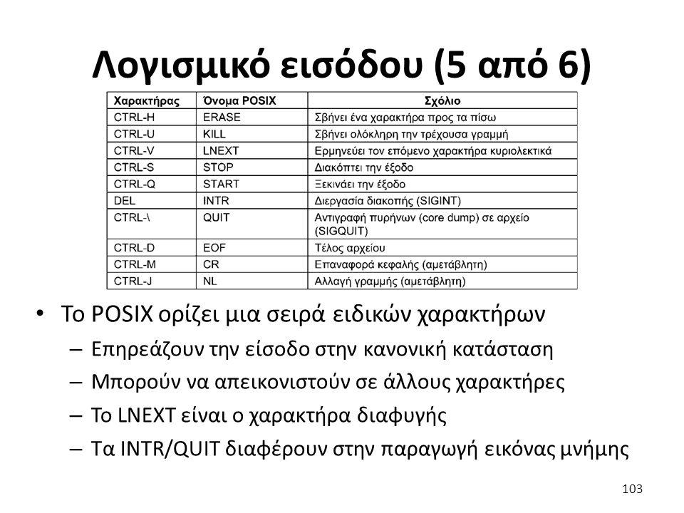 Λογισμικό εισόδου (5 από 6) Το POSIX ορίζει μια σειρά ειδικών χαρακτήρων – Επηρεάζουν την είσοδο στην κανονική κατάσταση – Μπορούν να απεικονιστούν σε