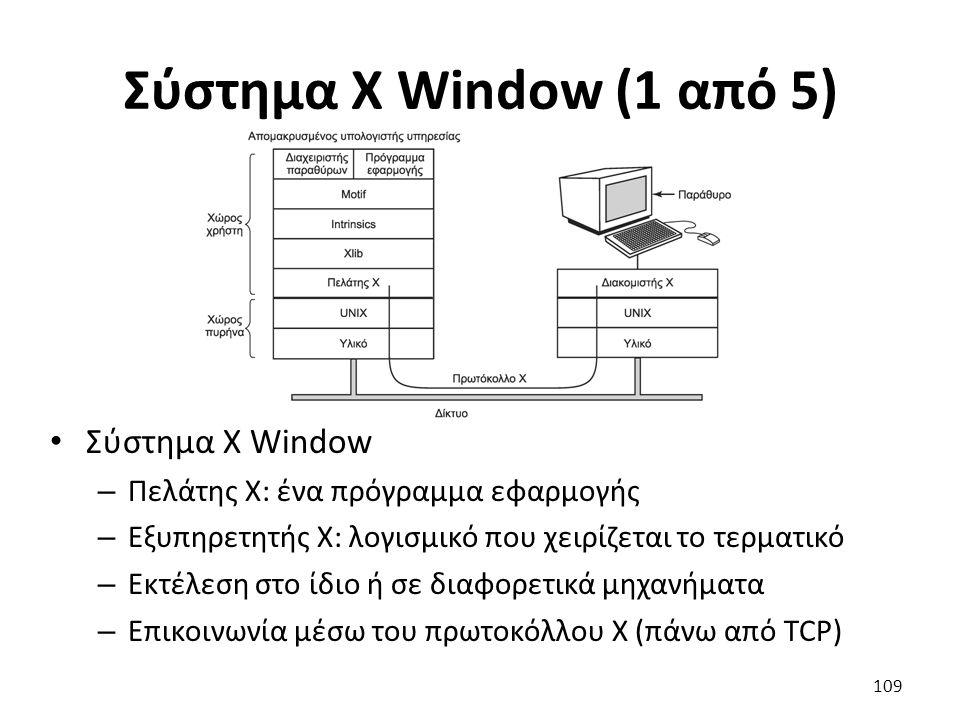 Σύστημα X Window (1 από 5) Σύστημα X Window – Πελάτης X: ένα πρόγραμμα εφαρμογής – Εξυπηρετητής X: λογισμικό που χειρίζεται το τερματικό – Εκτέλεση στ