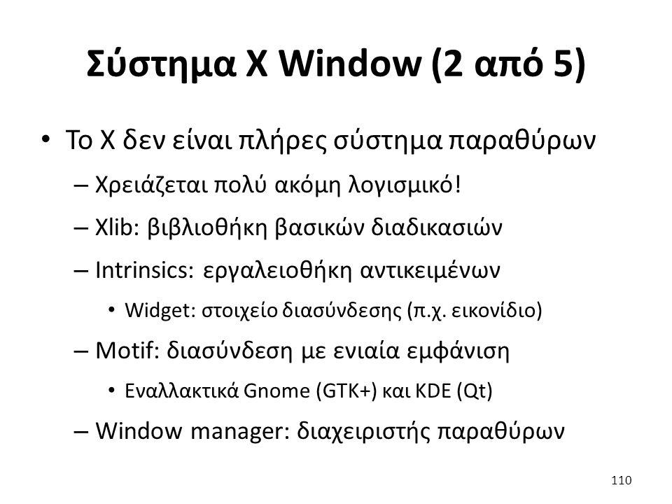 Σύστημα X Window (2 από 5) Το X δεν είναι πλήρες σύστημα παραθύρων – Χρειάζεται πολύ ακόμη λογισμικό! – Xlib: βιβλιοθήκη βασικών διαδικασιών – Intrins
