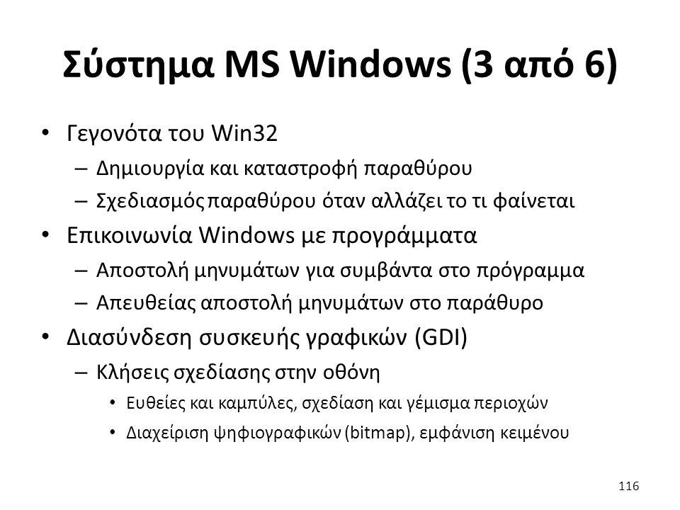Σύστημα MS Windows (3 από 6) Γεγονότα του Win32 – Δημιουργία και καταστροφή παραθύρου – Σχεδιασμός παραθύρου όταν αλλάζει το τι φαίνεται Επικοινωνία W