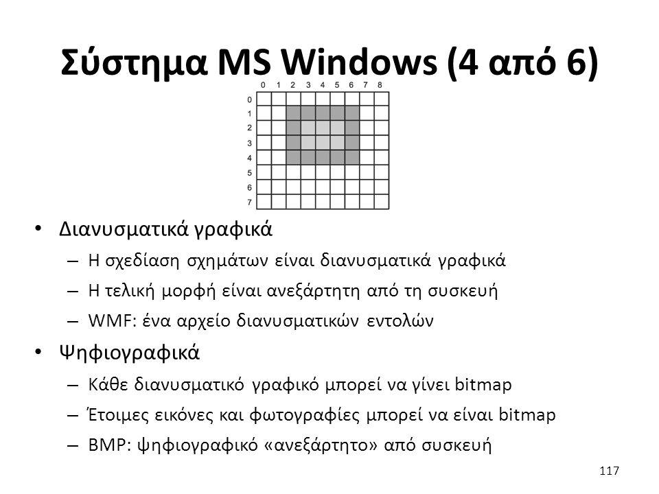 Σύστημα MS Windows (4 από 6) Διανυσματικά γραφικά – Η σχεδίαση σχημάτων είναι διανυσματικά γραφικά – Η τελική μορφή είναι ανεξάρτητη από τη συσκευή –