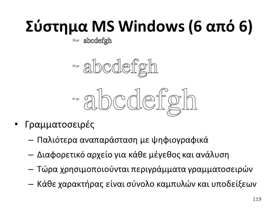 Σύστημα MS Windows (6 από 6) Γραμματοσειρές – Παλιότερα αναπαράσταση με ψηφιογραφικά – Διαφορετικό αρχείο για κάθε μέγεθος και ανάλυση – Τώρα χρησιμοπ