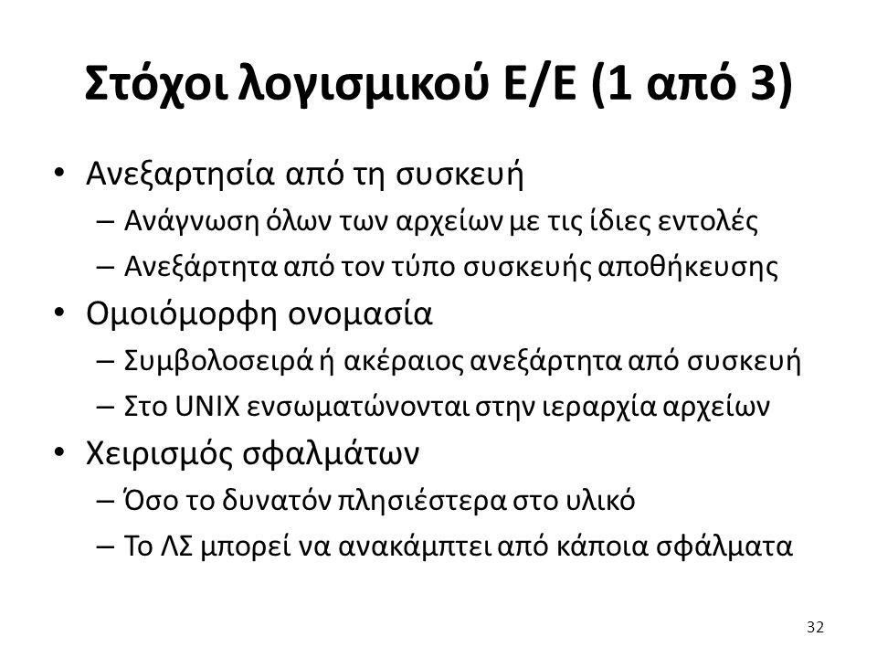 Στόχοι λογισμικού Ε/Ε (1 από 3) Ανεξαρτησία από τη συσκευή – Ανάγνωση όλων των αρχείων με τις ίδιες εντολές – Ανεξάρτητα από τον τύπο συσκευής αποθήκε