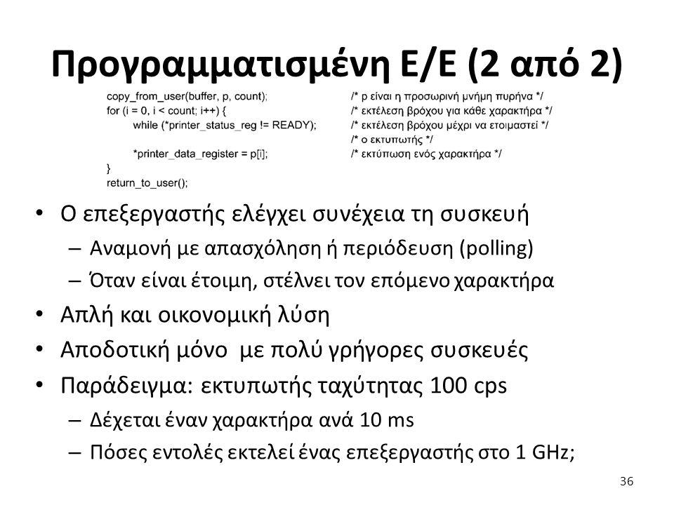 Προγραμματισμένη Ε/Ε (2 από 2) Ο επεξεργαστής ελέγχει συνέχεια τη συσκευή – Αναμονή με απασχόληση ή περιόδευση (polling) – Όταν είναι έτοιμη, στέλνει
