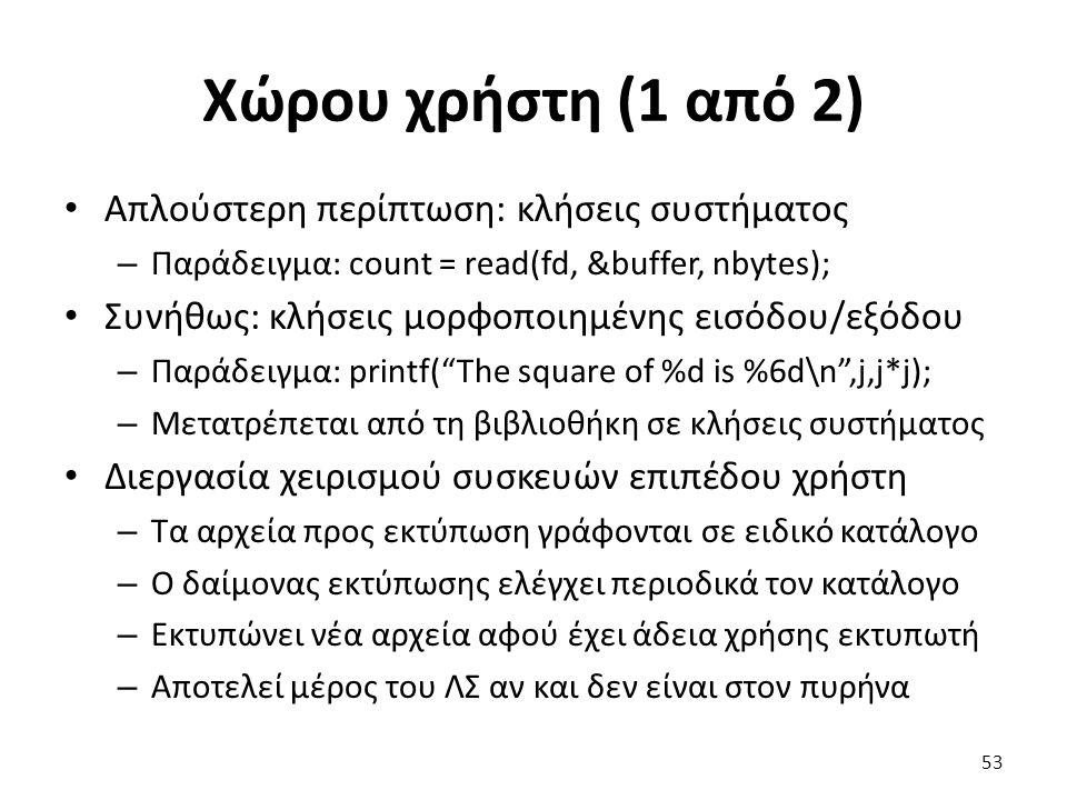 Χώρου χρήστη (1 από 2) Απλούστερη περίπτωση: κλήσεις συστήματος – Παράδειγμα: count = read(fd, &buffer, nbytes); Συνήθως: κλήσεις μορφοποιημένης εισόδ