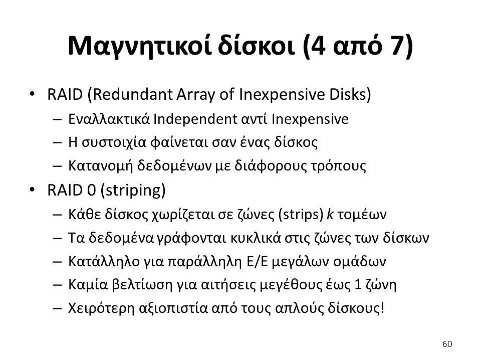 Μαγνητικοί δίσκοι (4 από 7) RAID (Redundant Array of Inexpensive Disks) – Εναλλακτικά Independent αντί Inexpensive – Η συστοιχία φαίνεται σαν ένας δίσ