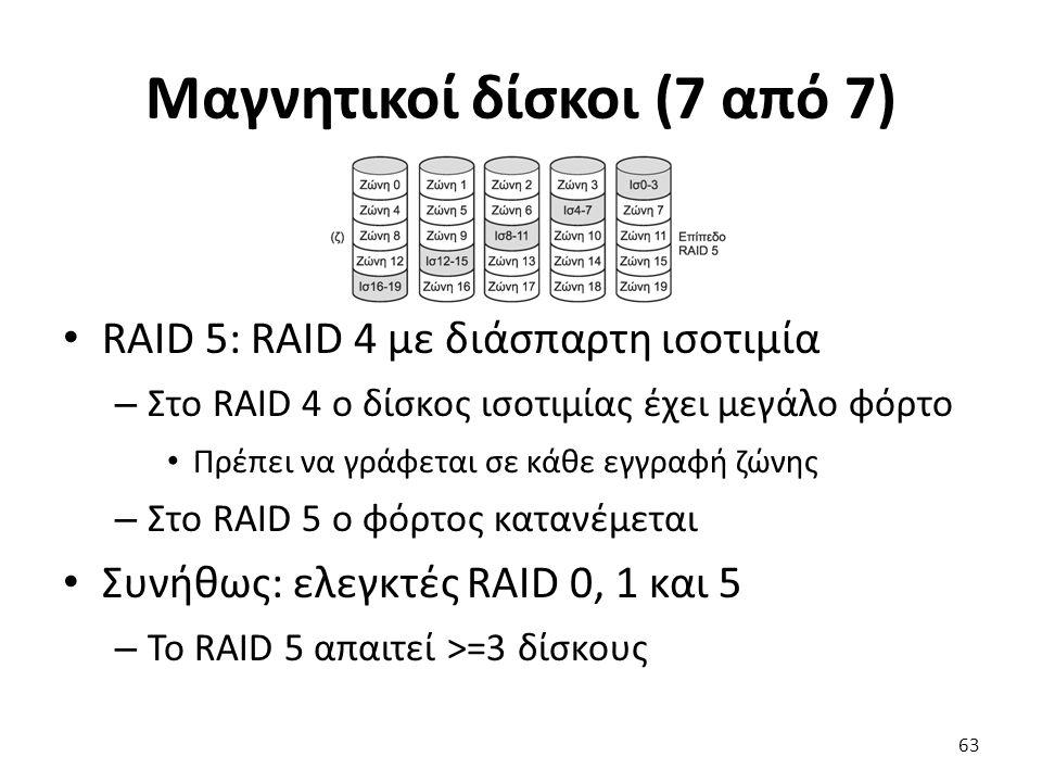 Μαγνητικοί δίσκοι (7 από 7) RAID 5: RAID 4 με διάσπαρτη ισοτιμία – Στο RAID 4 ο δίσκος ισοτιμίας έχει μεγάλο φόρτο Πρέπει να γράφεται σε κάθε εγγραφή