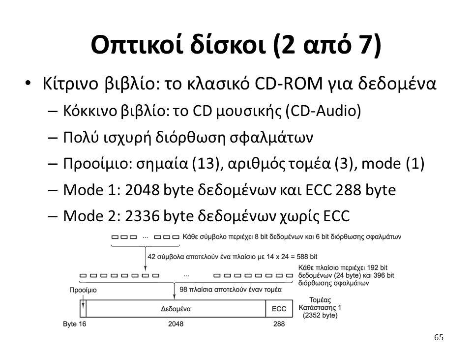 Οπτικοί δίσκοι (2 από 7) Κίτρινο βιβλίο: το κλασικό CD-ROM για δεδομένα – Κόκκινο βιβλίο: το CD μουσικής (CD-Audio) – Πολύ ισχυρή διόρθωση σφαλμάτων –