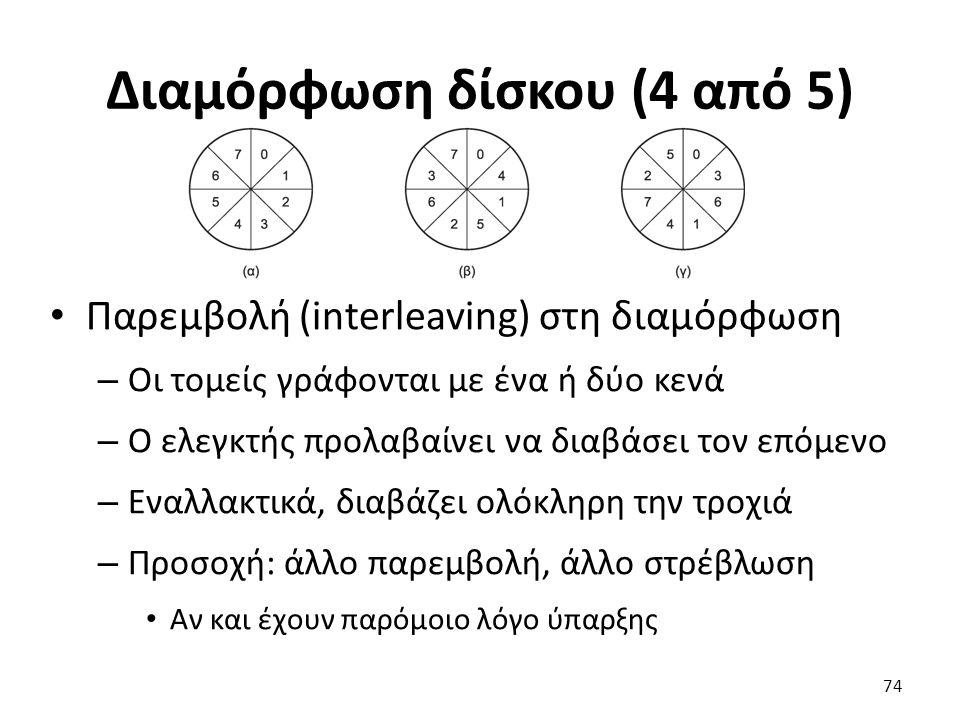 Διαμόρφωση δίσκου (4 από 5) Παρεμβολή (interleaving) στη διαμόρφωση – Οι τομείς γράφονται με ένα ή δύο κενά – Ο ελεγκτής προλαβαίνει να διαβάσει τον ε