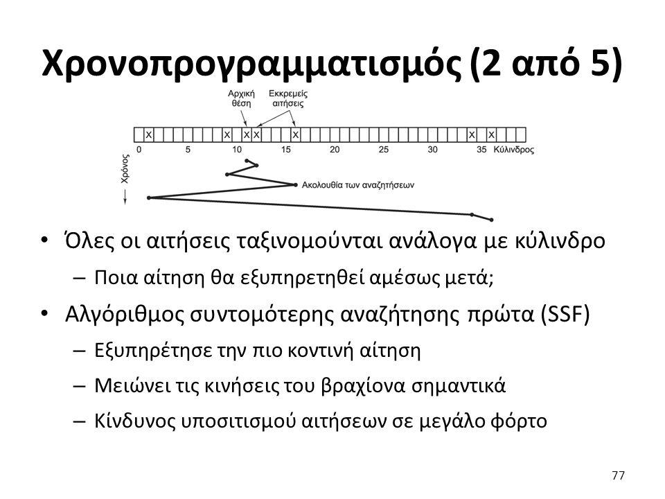 Χρονοπρογραμματισμός (2 από 5) Όλες οι αιτήσεις ταξινομούνται ανάλογα με κύλινδρο – Ποια αίτηση θα εξυπηρετηθεί αμέσως μετά; Αλγόριθμος συντομότερης α