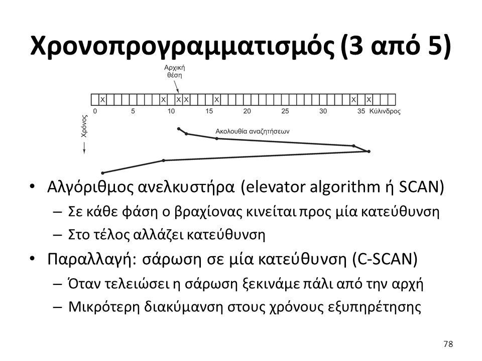 Χρονοπρογραμματισμός (3 από 5) Αλγόριθμος ανελκυστήρα (elevator algorithm ή SCAN) – Σε κάθε φάση ο βραχίονας κινείται προς μία κατεύθυνση – Στο τέλος
