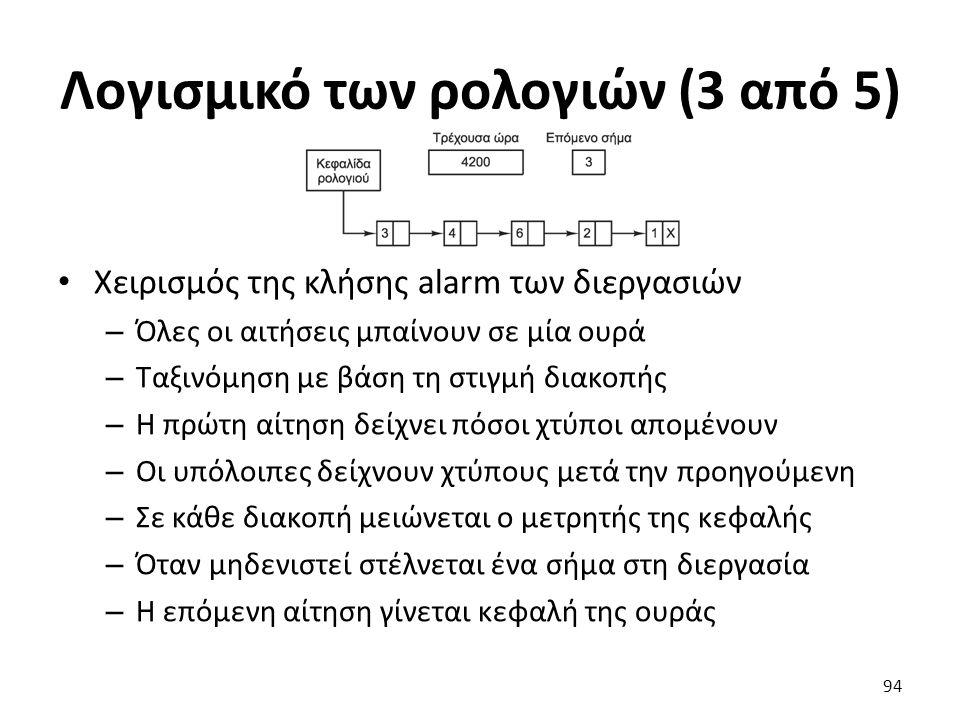 Λογισμικό των ρολογιών (3 από 5) Χειρισμός της κλήσης alarm των διεργασιών – Όλες οι αιτήσεις μπαίνουν σε μία ουρά – Ταξινόμηση με βάση τη στιγμή διακ
