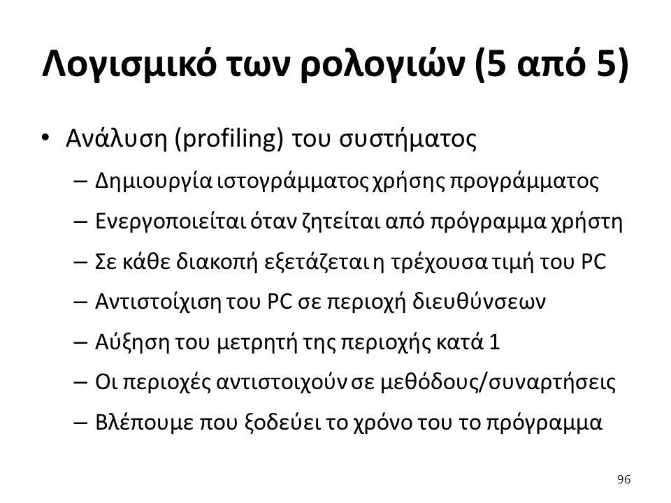 Λογισμικό των ρολογιών (5 από 5) Ανάλυση (profiling) του συστήματος – Δημιουργία ιστογράμματος χρήσης προγράμματος – Ενεργοποιείται όταν ζητείται από