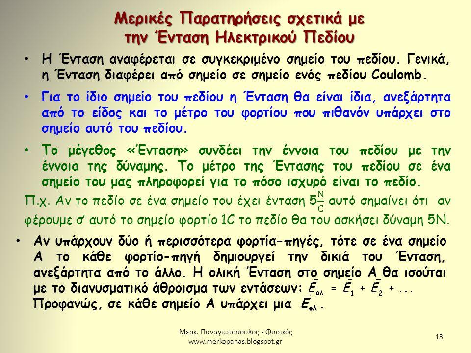 Μερκ. Παναγιωτόπουλος - Φυσικός www.merkopanas.blogspot.gr 13 Μερικές Παρατηρήσεις σχετικά με την Ένταση Ηλεκτρικού Πεδίου Αν υπάρχουν δύο ή περισσότε