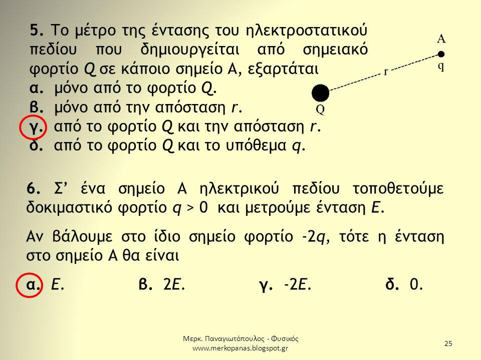 Μερκ. Παναγιωτόπουλος - Φυσικός www.merkopanas.blogspot.gr 25 6. Σ' ένα σημείο Α ηλεκτρικού πεδίου τοποθετούμε δοκιμαστικό φορτίο q > 0 και μετρούμε έ