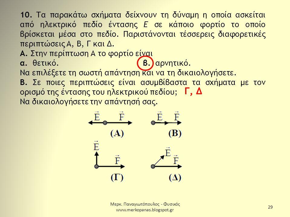 Μερκ. Παναγιωτόπουλος - Φυσικός www.merkopanas.blogspot.gr 29 10. Τα παρακάτω σχήματα δείχνουν τη δύναμη η οποία ασκείται από ηλεκτρικό πεδίο έντασης