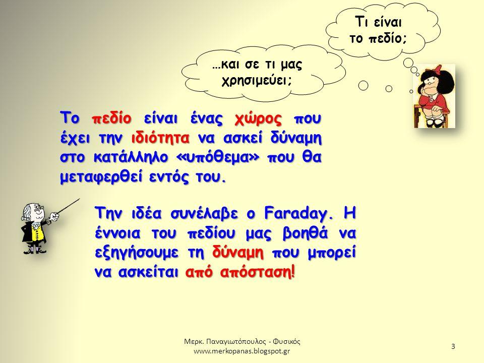 Μερκ. Παναγιωτόπουλος - Φυσικός www.merkopanas.blogspot.gr 3 Τι είναι το πεδίο; Το πεδίο είναι ένας χώρος που έχει την ιδιότητα να ασκεί δύναμη στο κα